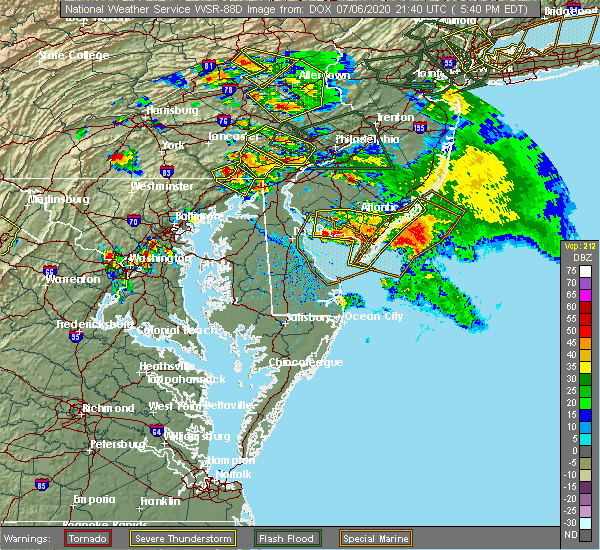 Radar Image for Severe Thunderstorms near Sea Isle City, NJ at 7/6/2020 5:46 PM EDT
