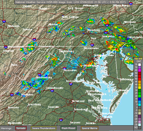 Radar Image for Severe Thunderstorms near Mount Rainier, MD at 7/6/2020 6:00 PM EDT