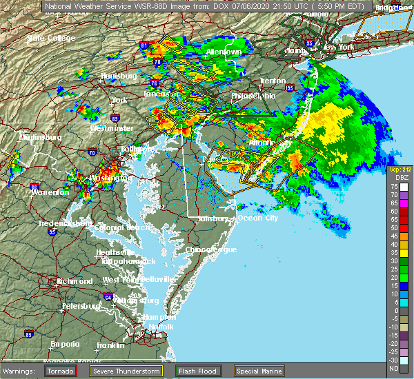 Radar Image for Severe Thunderstorms near Rising Sun, MD at 7/6/2020 6:05 PM EDT