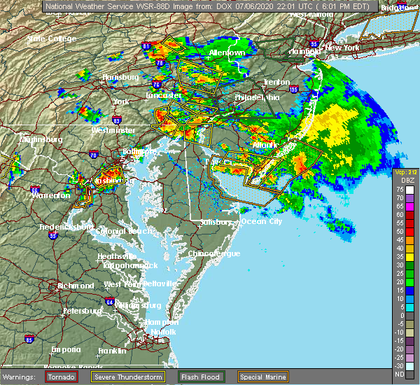 Radar Image for Severe Thunderstorms near Sea Isle City, NJ at 7/6/2020 6:11 PM EDT