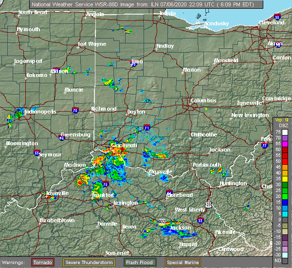 Radar Image for Severe Thunderstorms near Mariemont, OH at 7/6/2020 6:12 PM EDT