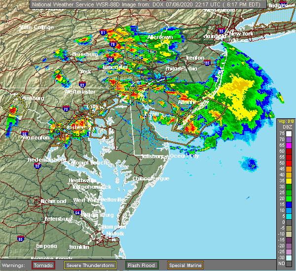 Radar Image for Severe Thunderstorms near Bowleys Quarters, MD at 7/6/2020 6:22 PM EDT