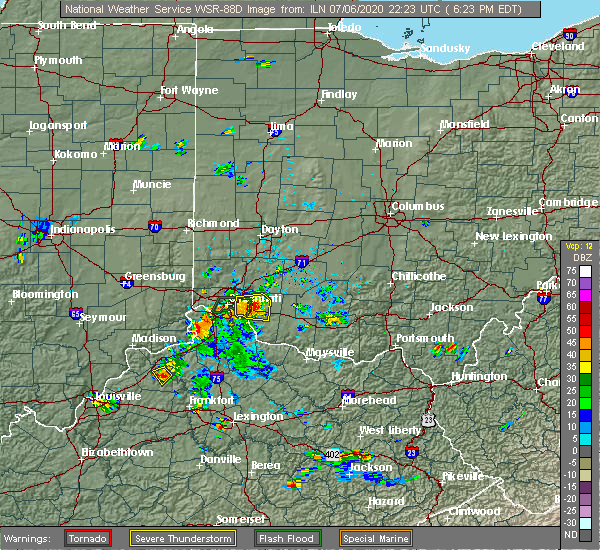 Radar Image for Severe Thunderstorms near Mariemont, OH at 7/6/2020 6:25 PM EDT