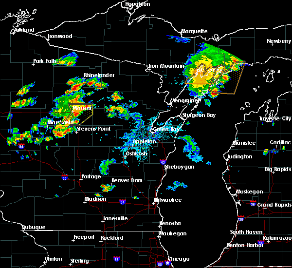 Radar Image for Severe Thunderstorms near Rhinelander, WI at 7/6/2020 5:27 PM CDT