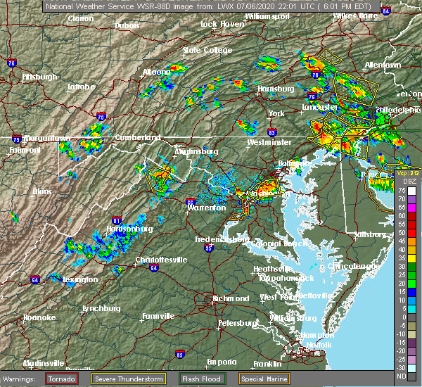 Radar Image for Severe Thunderstorms near Oxon Hill, MD at 7/6/2020 6:31 PM EDT