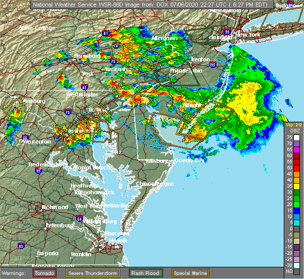 Radar Image for Severe Thunderstorms near Rising Sun, MD at 7/6/2020 6:35 PM EDT
