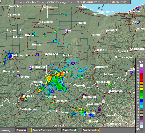 Radar Image for Severe Thunderstorms near Mariemont, OH at 7/6/2020 6:41 PM EDT