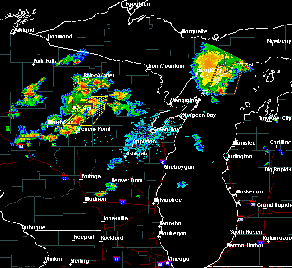 Radar Image for Severe Thunderstorms near Aniwa, WI at 7/6/2020 5:44 PM CDT