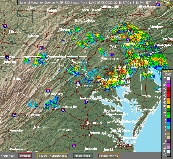 Radar Image for Severe Thunderstorms near Harpers Ferry, MD at 7/6/2020 6:53 PM EDT