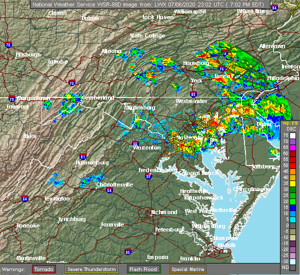 Radar Image for Severe Thunderstorms near Croom, MD at 7/6/2020 7:07 PM EDT