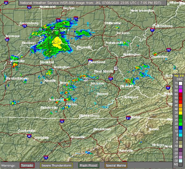 Radar Image for Severe Thunderstorms near East Bernstadt, KY at 7/6/2020 7:14 PM EDT