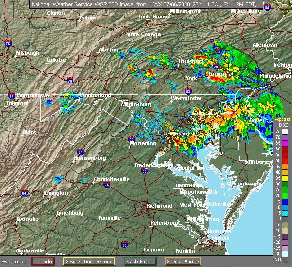 Radar Image for Severe Thunderstorms near Bowleys Quarters, MD at 7/6/2020 7:18 PM EDT