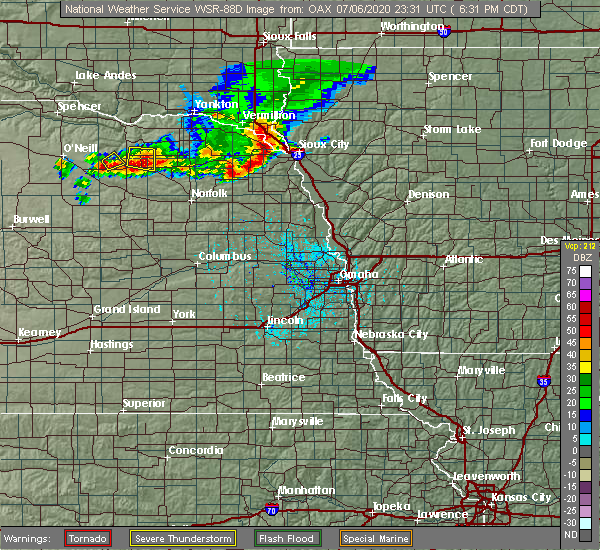 Radar Image for Severe Thunderstorms near North Sioux City, SD at 7/6/2020 6:34 PM CDT