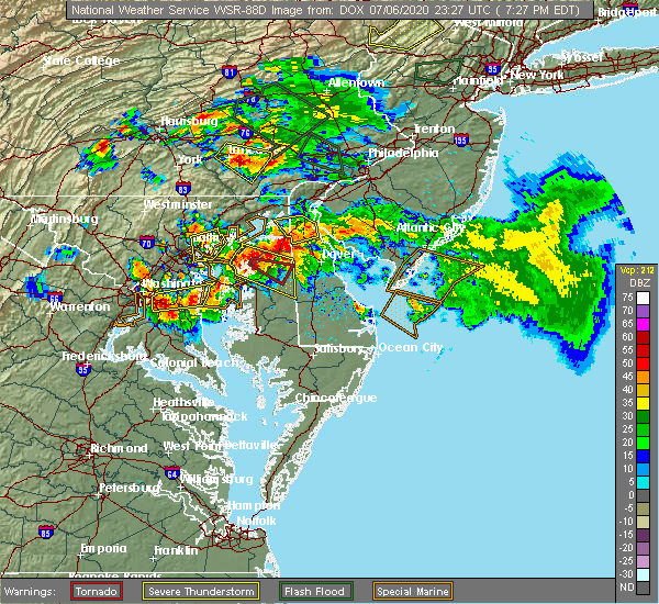 Radar Image for Severe Thunderstorms near Denton, MD at 7/6/2020 7:34 PM EDT