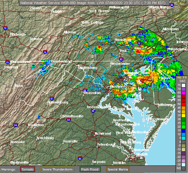 Radar Image for Severe Thunderstorms near Croom, MD at 7/6/2020 7:35 PM EDT