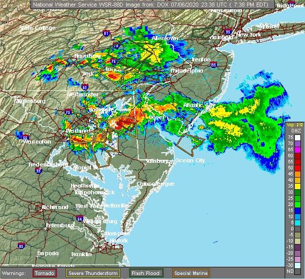 Radar Image for Severe Thunderstorms near Preston, MD at 7/6/2020 7:44 PM EDT