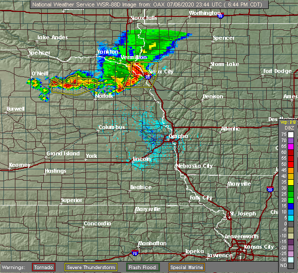 Radar Image for Severe Thunderstorms near Royal, NE at 7/6/2020 6:45 PM CDT