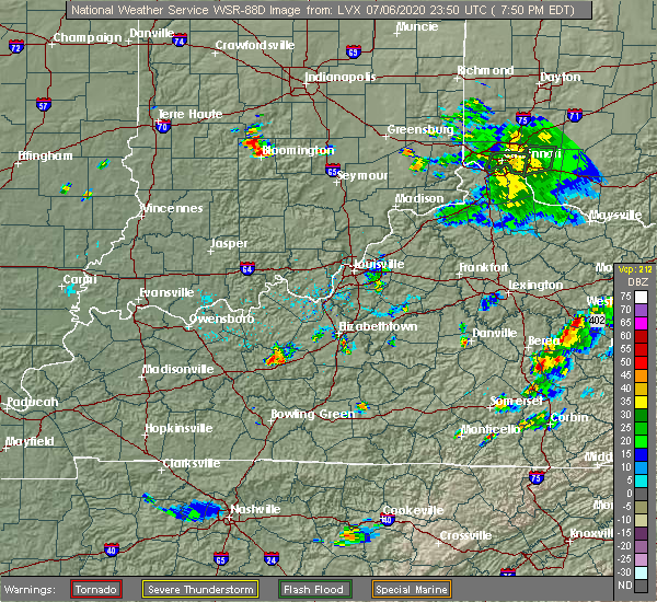Radar Image for Severe Thunderstorms near Clarkson, KY at 7/6/2020 6:53 PM CDT