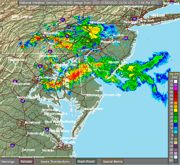 Radar Image for Severe Thunderstorms near Conestoga, PA at 7/6/2020 8:00 PM EDT