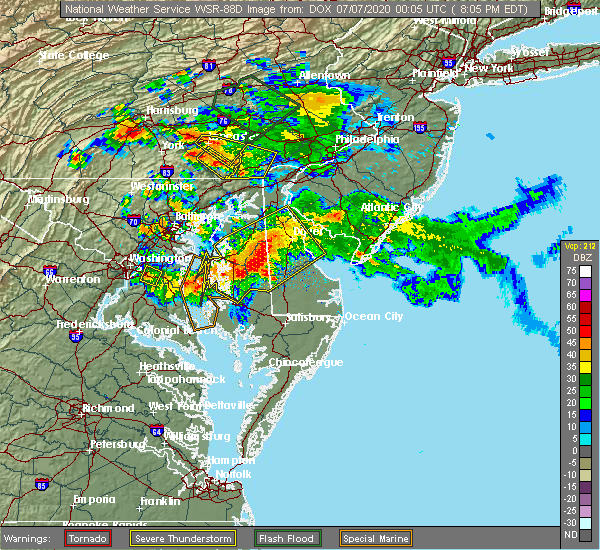 Radar Image for Severe Thunderstorms near Preston, MD at 7/6/2020 8:12 PM EDT