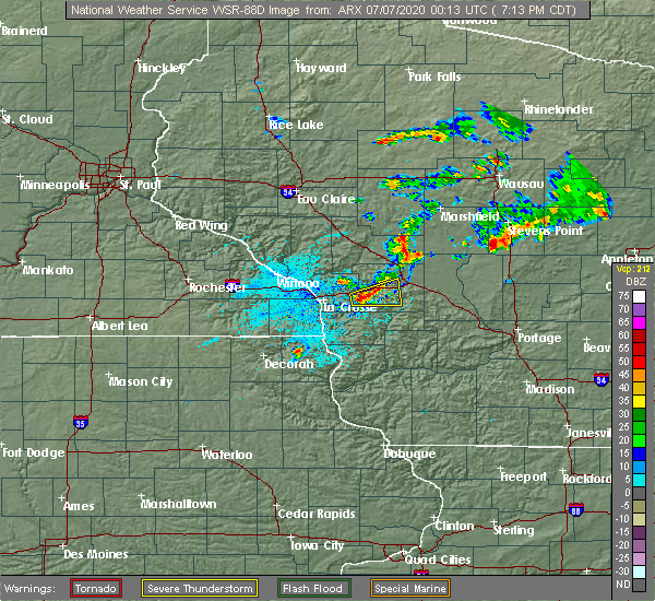 Radar Image for Severe Thunderstorms near Sparta, WI at 7/6/2020 7:18 PM CDT