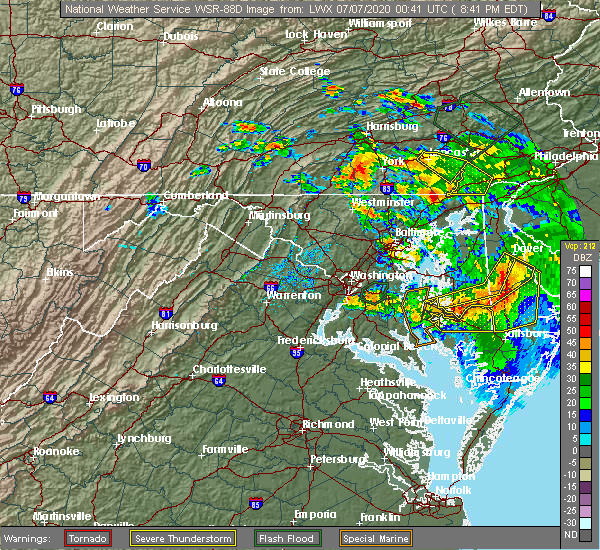 Radar Image for Severe Thunderstorms near Belle Haven, VA at 7/6/2020 8:47 PM EDT