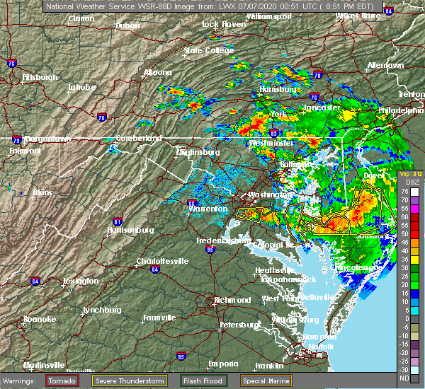Radar Image for Severe Thunderstorms near Abbottstown, PA at 7/6/2020 8:59 PM EDT