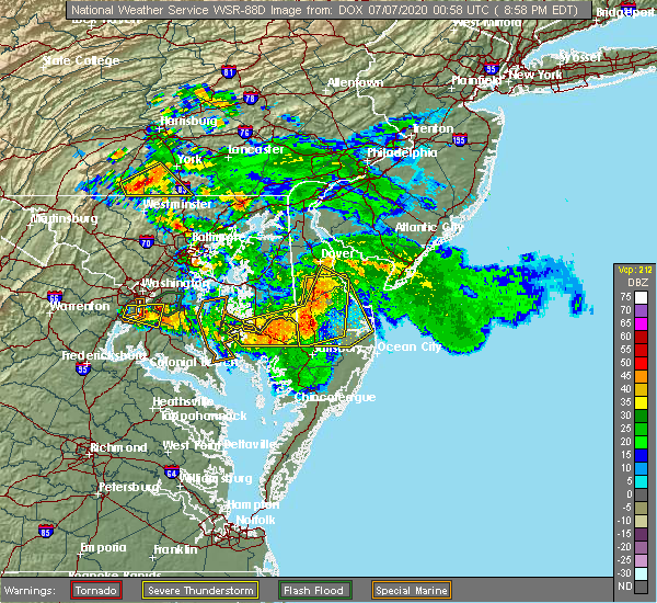 Radar Image for Severe Thunderstorms near Pittsville, MD at 7/6/2020 9:01 PM EDT