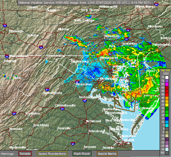 Radar Image for Severe Thunderstorms near Parkville, PA at 7/6/2020 9:22 PM EDT