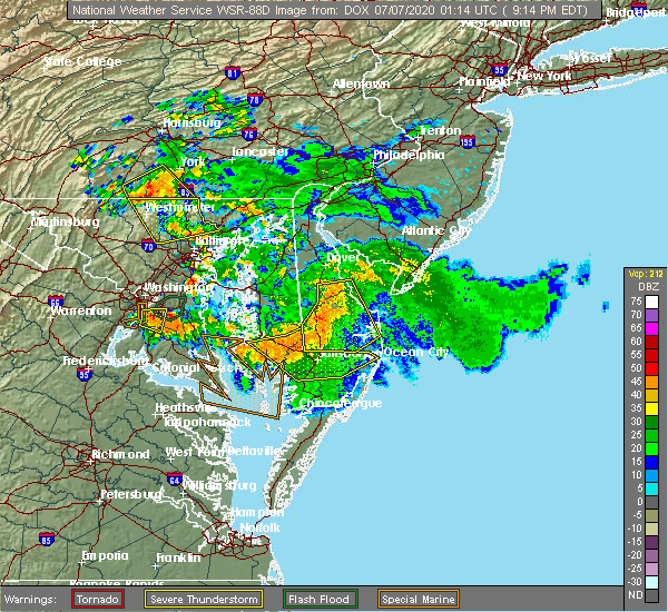 Radar Image for Severe Thunderstorms near Pittsville, MD at 7/6/2020 9:24 PM EDT