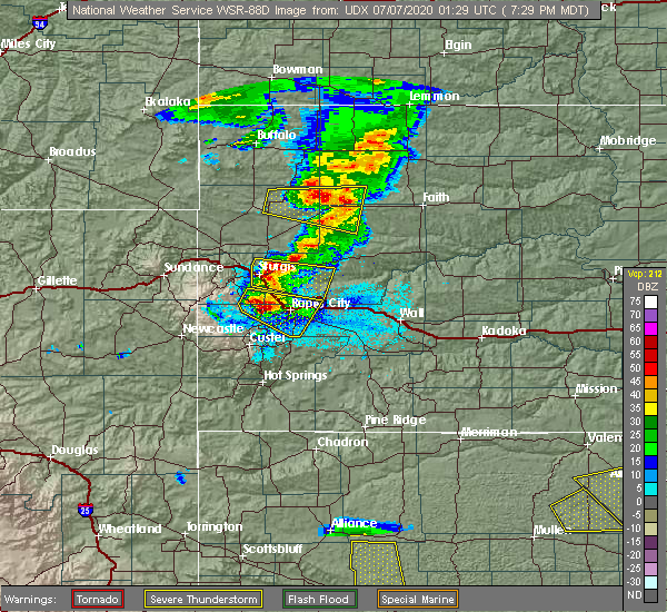 Radar Image for Severe Thunderstorms near Blackhawk, SD at 7/6/2020 7:35 PM MDT