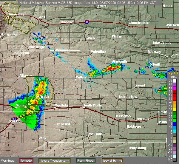 Radar Image for Severe Thunderstorms near Lewellen, NE at 7/6/2020 8:14 PM MDT