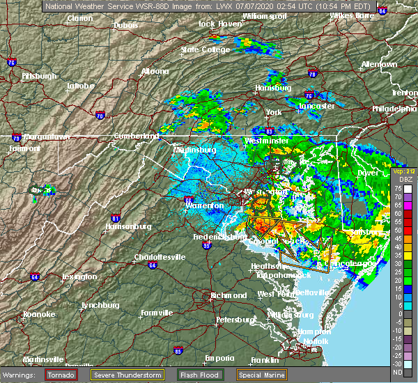 Radar Image for Severe Thunderstorms near Broomes Island, MD at 7/6/2020 11:00 PM EDT