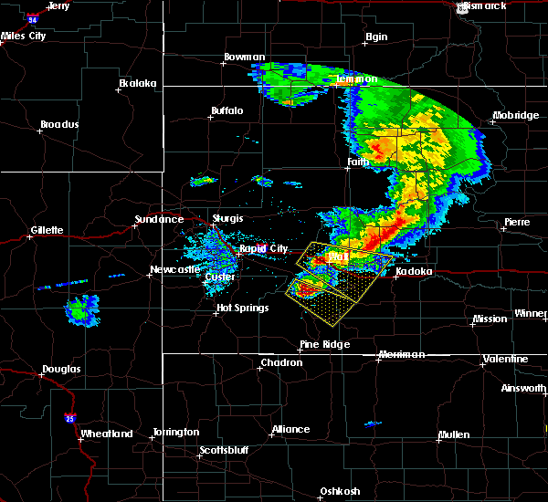 Radar Image for Severe Thunderstorms near Cottonwood, SD at 7/6/2020 9:11 PM MDT