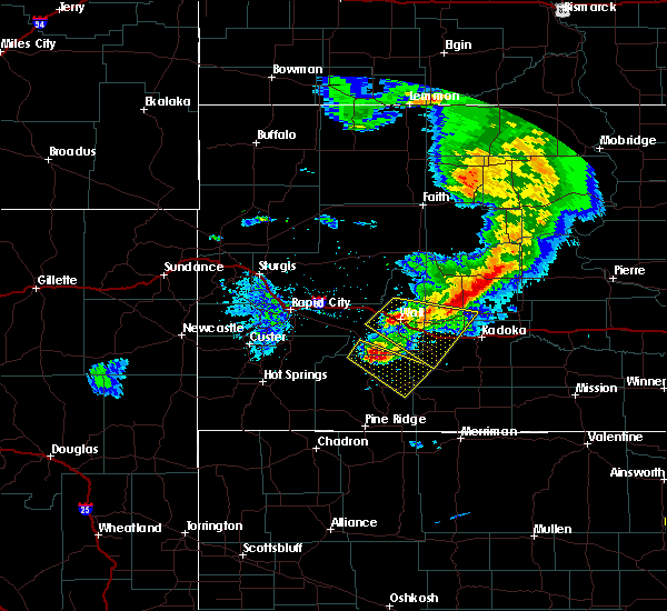 Radar Image for Severe Thunderstorms near Kyle, SD at 7/6/2020 9:15 PM MDT