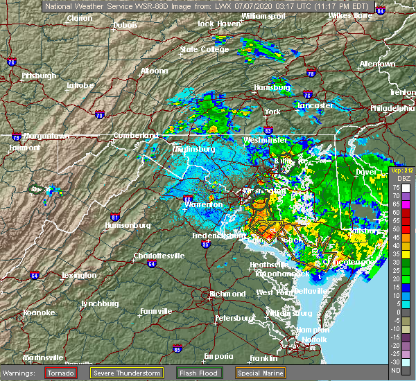 Radar Image for Severe Thunderstorms near Broomes Island, MD at 7/6/2020 11:21 PM EDT