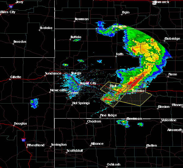 Radar Image for Severe Thunderstorms near Kyle, SD at 7/6/2020 9:28 PM MDT