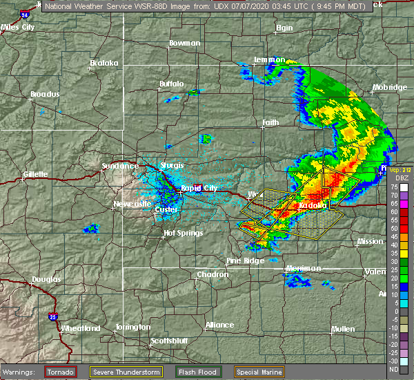 Radar Image for Severe Thunderstorms near Cottonwood, SD at 7/6/2020 9:53 PM MDT