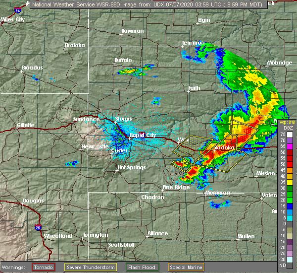 Radar Image for Severe Thunderstorms near Belvidere, SD at 7/6/2020 10:02 PM MDT