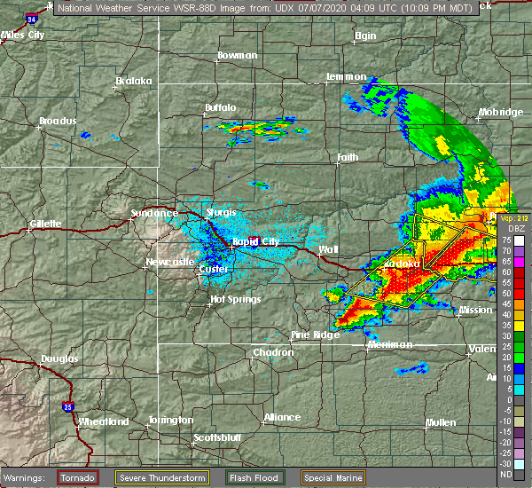 Radar Image for Severe Thunderstorms near Martin, SD at 7/6/2020 11:17 PM CDT