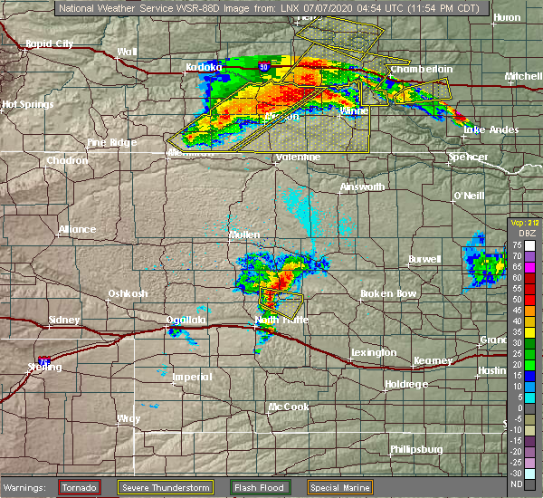 Radar Image for Severe Thunderstorms near Antelope, SD at 7/6/2020 11:57 PM CDT