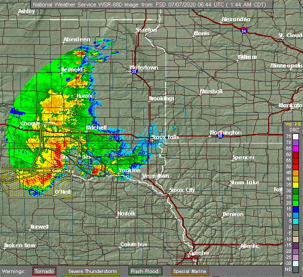 Radar Image for Severe Thunderstorms near Verdigre, NE at 7/7/2020 1:54 AM CDT