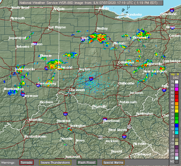 Radar Image for Severe Thunderstorms near Richmond, IN at 7/7/2020 1:25 PM EDT