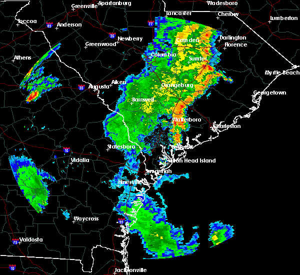 Radar Image for Severe Thunderstorms near Edisto Beach, SC at 6/30/2015 6:28 PM EDT
