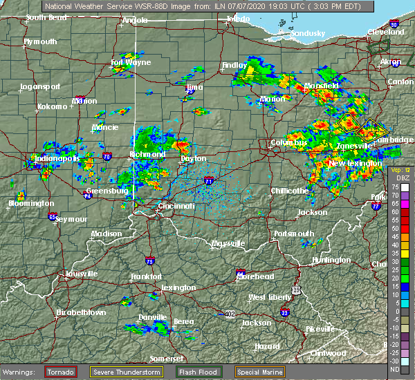 Radar Image for Severe Thunderstorms near St. Paris, OH at 7/7/2020 3:08 PM EDT