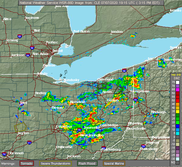 Radar Image for Severe Thunderstorms near Walnut Creek, OH at 7/7/2020 3:23 PM EDT