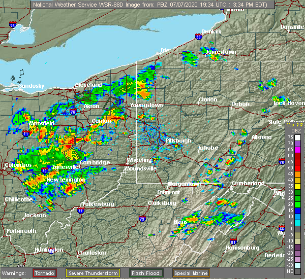 Radar Image for Severe Thunderstorms near Zoar, OH at 7/7/2020 3:38 PM EDT