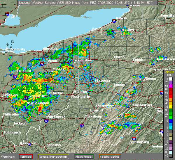 Radar Image for Severe Thunderstorms near Zoar, OH at 7/7/2020 3:52 PM EDT