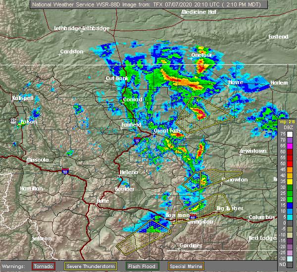 Radar Image for Severe Thunderstorms near Joplin, MT at 7/7/2020 2:16 PM MDT