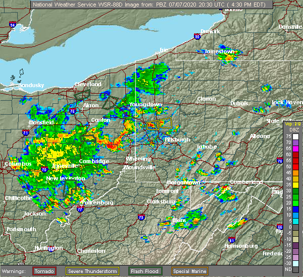 Radar Image for Severe Thunderstorms near Nixon, PA at 7/7/2020 4:37 PM EDT